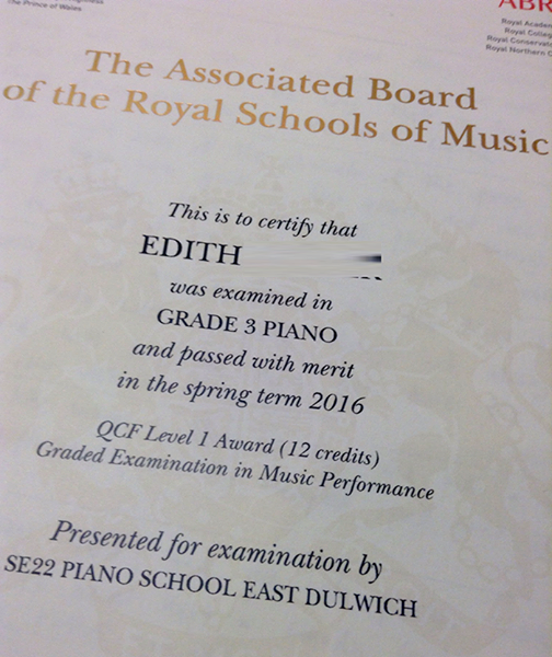 Exam Certificates – SE22 Piano School ~ East Dulwich