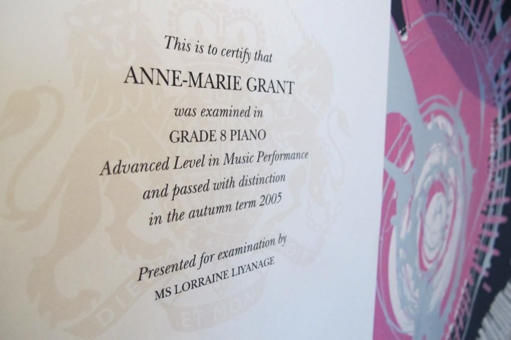 Congratulations Anne-Marie: Grade 8 Piano Distinction