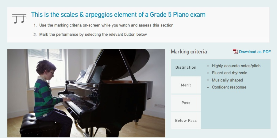 Listen and mark these Grade 5 piano scales