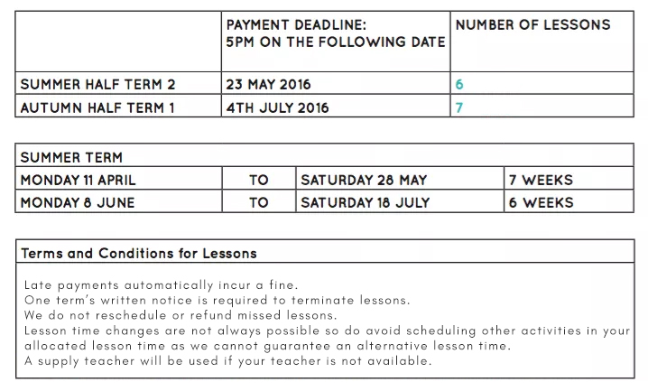 Piano Lesson Summer Timetable