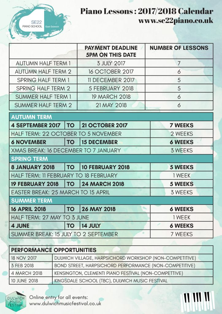 Piano Lesson Timetable East Dulwich